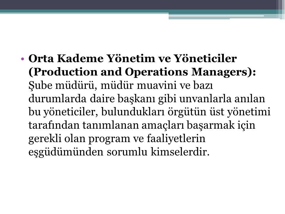 Orta Kademe Yönetim ve Yöneticiler (Production and Operations Managers): Şube müdürü, müdür muavini ve bazı durumlarda daire başkanı gibi unvanlarla a