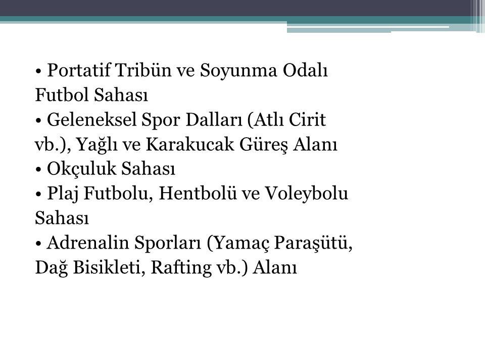 Portatif Tribün ve Soyunma Odalı Futbol Sahası Geleneksel Spor Dalları (Atlı Cirit vb.), Yağlı ve Karakucak Güreş Alanı Okçuluk Sahası Plaj Futbolu, H