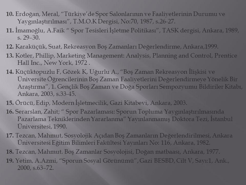 """10. Erdoğan, Meral, """"Türkiye'de Spor Salonlarının ve Faaliyetlerinin Durumu ve Yaygınlaştırılması"""", T.M.O.K Dergisi, No:70, 1987, s.26-27. 11. İmamoğl"""