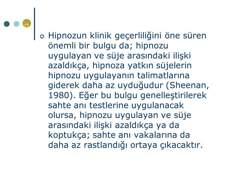 Hipnozun klinik geçerliliğini öne süren önemli bir bulgu da; hipnozu uygulayan ve süje arasındaki ilişki azaldıkça, hipnoza yatkın süjelerin hipnozu uygulayanın talimatlarına giderek daha az uyduğudur (Sheenan, 1980).