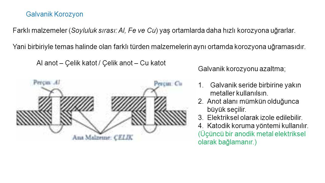 Galvanik Korozyon Farklı malzemeler (Soyluluk sırası: Al, Fe ve Cu) yaş ortamlarda daha hızlı korozyona uğrarlar. Yani birbiriyle temas halinde olan f