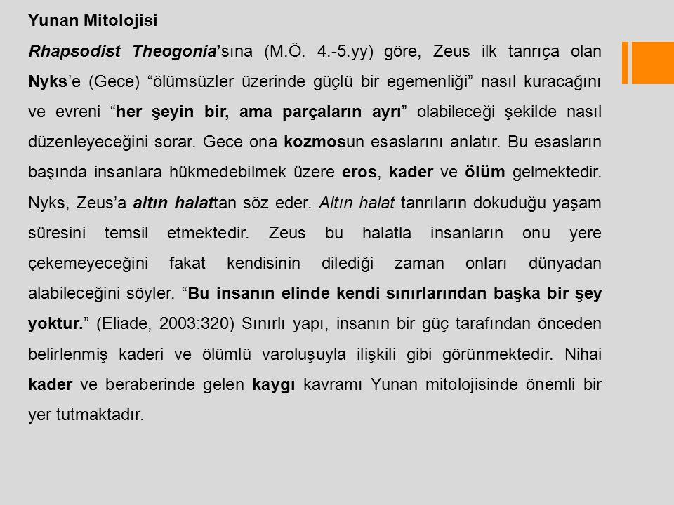 """Yunan Mitolojisi Rhapsodist Theogonia'sına (M.Ö. 4.-5.yy) göre, Zeus ilk tanrıça olan Nyks'e (Gece) """"ölümsüzler üzerinde güçlü bir egemenliği"""" nasıl k"""