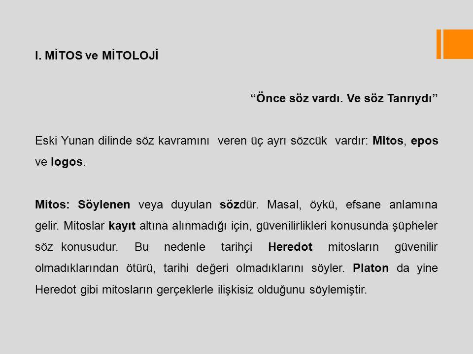 """I. MİTOS ve MİTOLOJİ """"Önce söz vardı. Ve söz Tanrıydı"""" Eski Yunan dilinde söz kavramını veren üç ayrı sözcük vardır: Mitos, epos ve logos. Mitos: Söyl"""