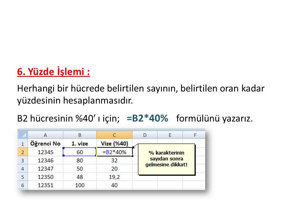 Formüller 6. Yüzde İşlemi : Herhangi bir hücrede belirtilen sayının, belirtilen oran kadar yüzdesinin hesaplanmasıdır. B2 hücresinin %40' ı için; =B2*