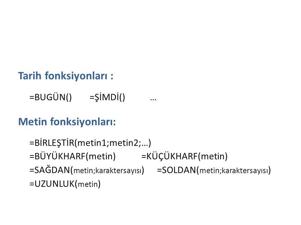 Tarih ve Metin Fonksiyonları Tarih fonksiyonları : =BUGÜN() =ŞİMDİ() … Metin fonksiyonları: =BİRLEŞTİR(metin1;metin2;…) =BÜYÜKHARF(metin) =KÜÇÜKHARF(m
