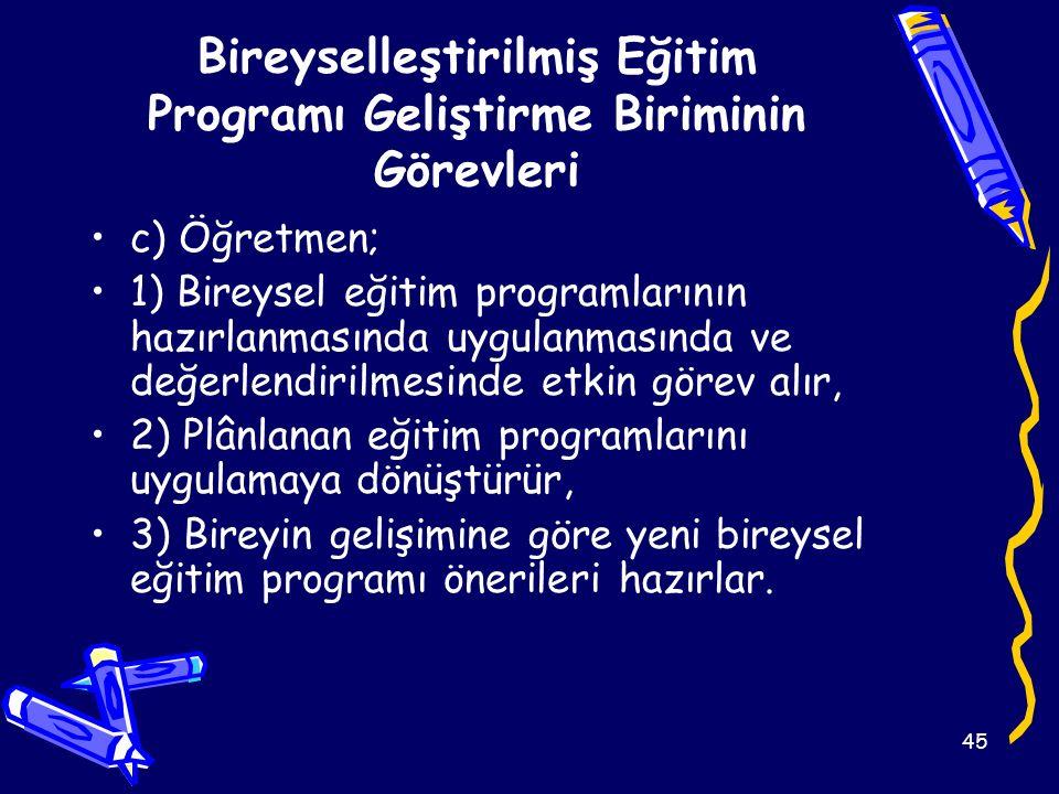 45 Bireyselleştirilmiş Eğitim Programı Geliştirme Biriminin Görevleri c) Öğretmen; 1) Bireysel eğitim programlarının hazırlanmasında uygulanmasında ve değerlendirilmesinde etkin görev alır, 2) Plânlanan eğitim programlarını uygulamaya dönüştürür, 3) Bireyin gelişimine göre yeni bireysel eğitim programı önerileri hazırlar.