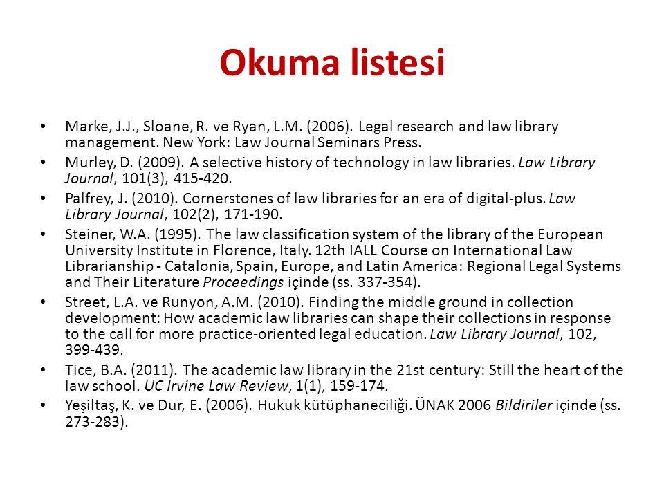 Hukuk kütüphaneleri «Hukuk kütüphaneleri, koleksiyonlarını öncelikli olarak hukuki araştırma ve çalışmalara yönelik olarak geliştiren, yasalar, yüksek mahkeme kararları, uluslararası antlaşmalar, bilimsel incelemeler, hukuki dergiler, kitaplar ve elektronik kaynakları bünyesinde bulunduran bir tür özel kütüphanedir» (Yeşiltaş ve Dur, 2006, s.