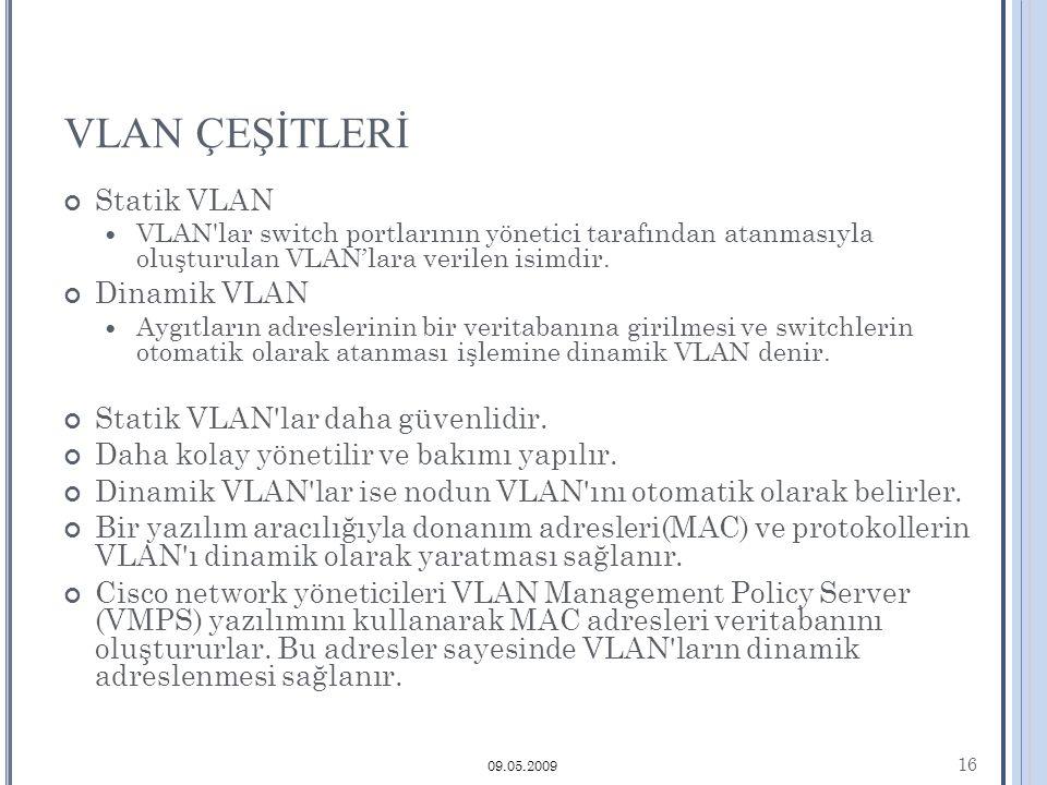 VLAN ÇEŞİTLERİ Statik VLAN VLAN lar switch portlarının yönetici tarafından atanmasıyla oluşturulan VLAN'lara verilen isimdir.