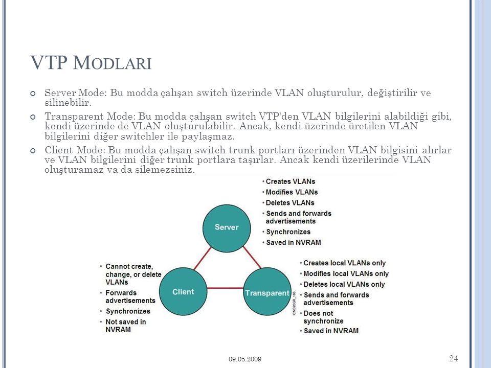 VTP M ODLARI Server Mode: Bu modda çalışan switch üzerinde VLAN oluşturulur, değiştirilir ve silinebilir.