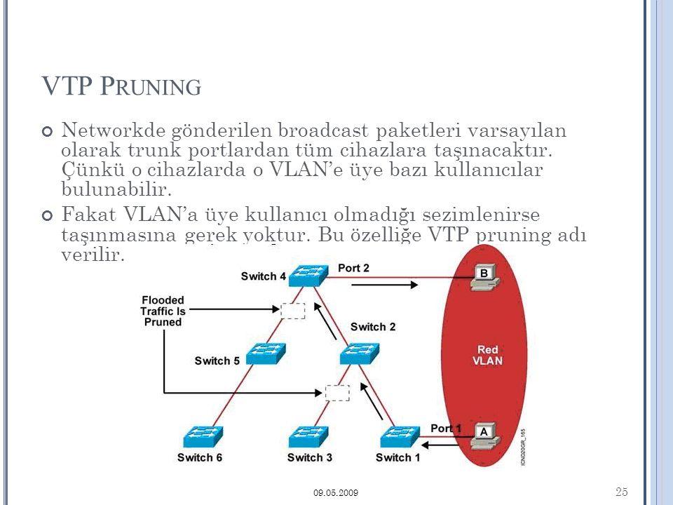 VTP P RUNING Networkde gönderilen broadcast paketleri varsayılan olarak trunk portlardan tüm cihazlara taşınacaktır.