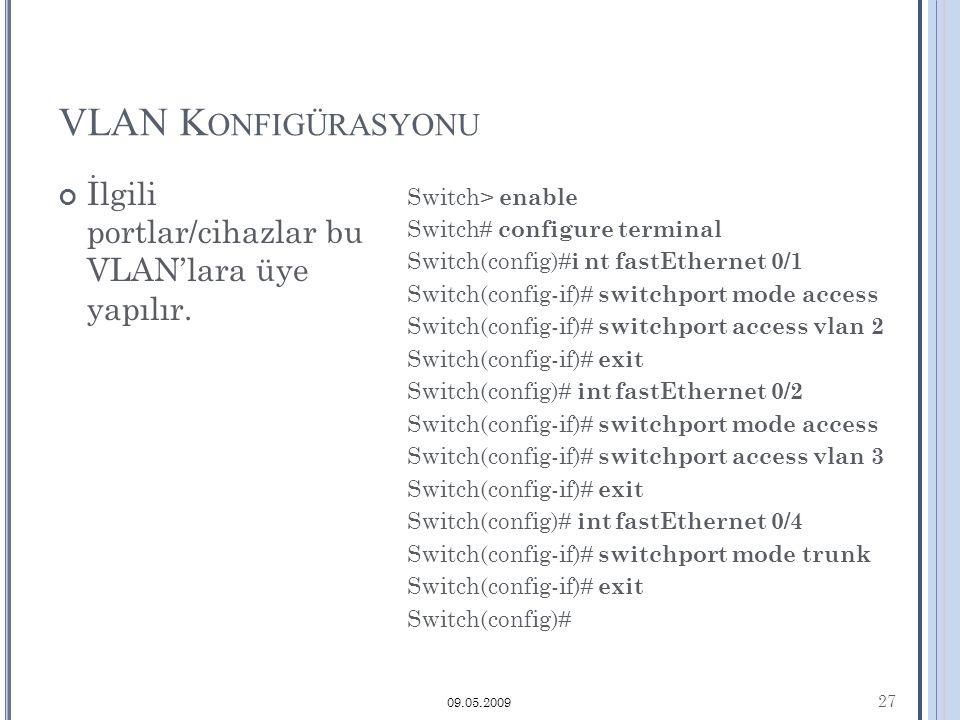 VLAN K ONFIGÜRASYONU 27 09.05.2009 İlgili portlar/cihazlar bu VLAN'lara üye yapılır.