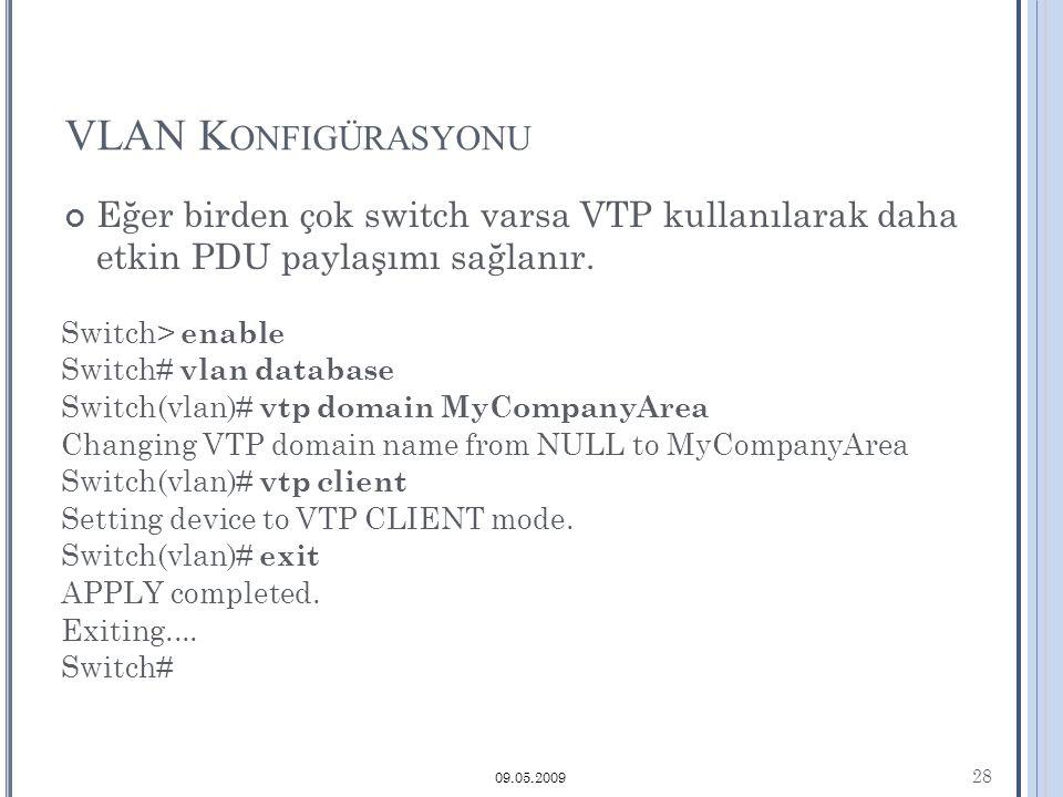 VLAN K ONFIGÜRASYONU 28 09.05.2009 Eğer birden çok switch varsa VTP kullanılarak daha etkin PDU paylaşımı sağlanır.