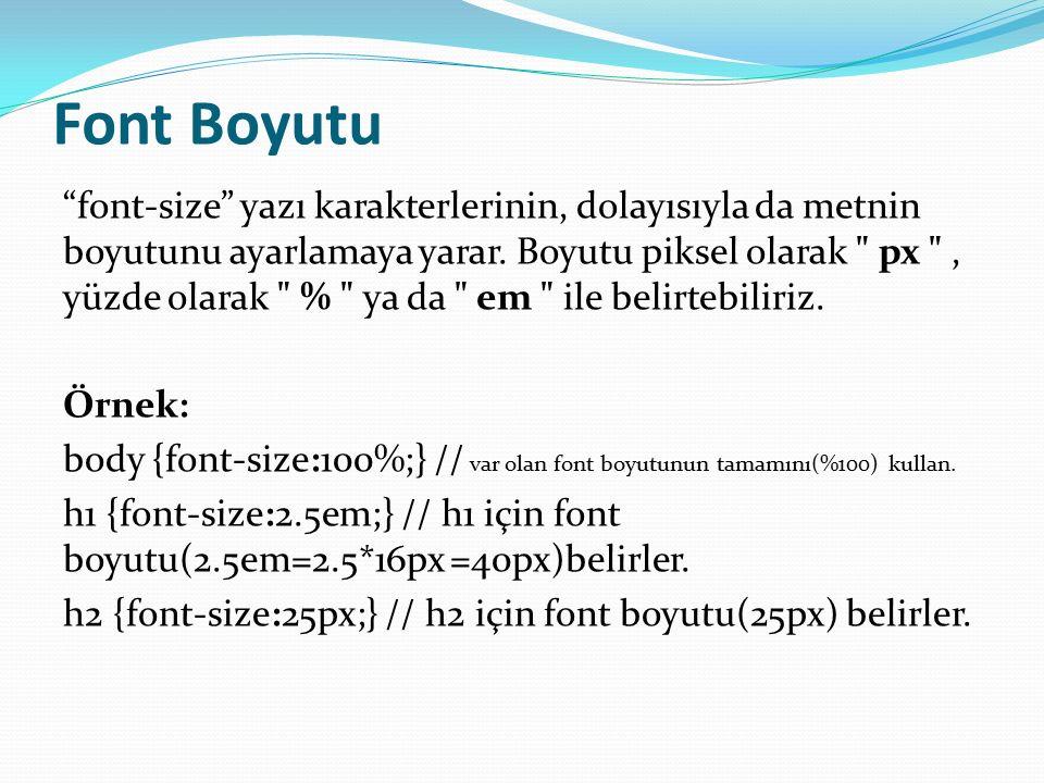 Font Boyutu font-size yazı karakterlerinin, dolayısıyla da metnin boyutunu ayarlamaya yarar.