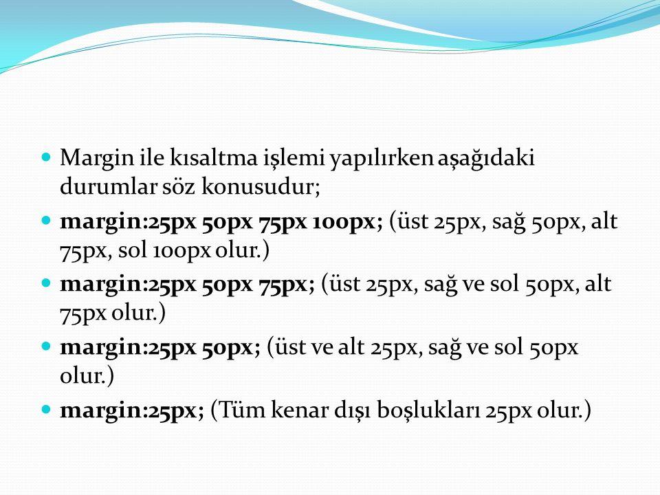 Margin ile kısaltma işlemi yapılırken aşağıdaki durumlar söz konusudur; margin:25px 50px 75px 100px; (üst 25px, sağ 50px, alt 75px, sol 100px olur.) margin:25px 50px 75px; (üst 25px, sağ ve sol 50px, alt 75px olur.) margin:25px 50px; (üst ve alt 25px, sağ ve sol 50px olur.) margin:25px; (Tüm kenar dışı boşlukları 25px olur.)