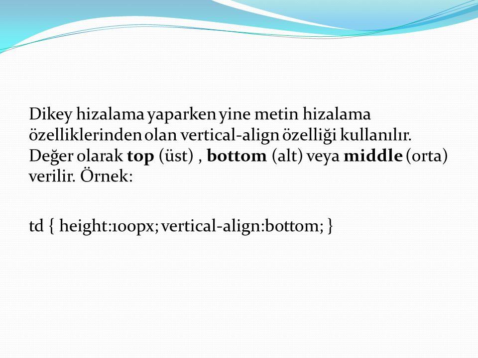 Dikey hizalama yaparken yine metin hizalama özelliklerinden olan vertical-align özelliği kullanılır.