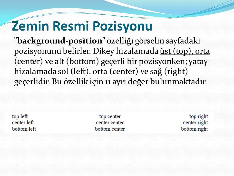 Zemin Resmi Pozisyonu background-position özelliği görselin sayfadaki pozisyonunu belirler.