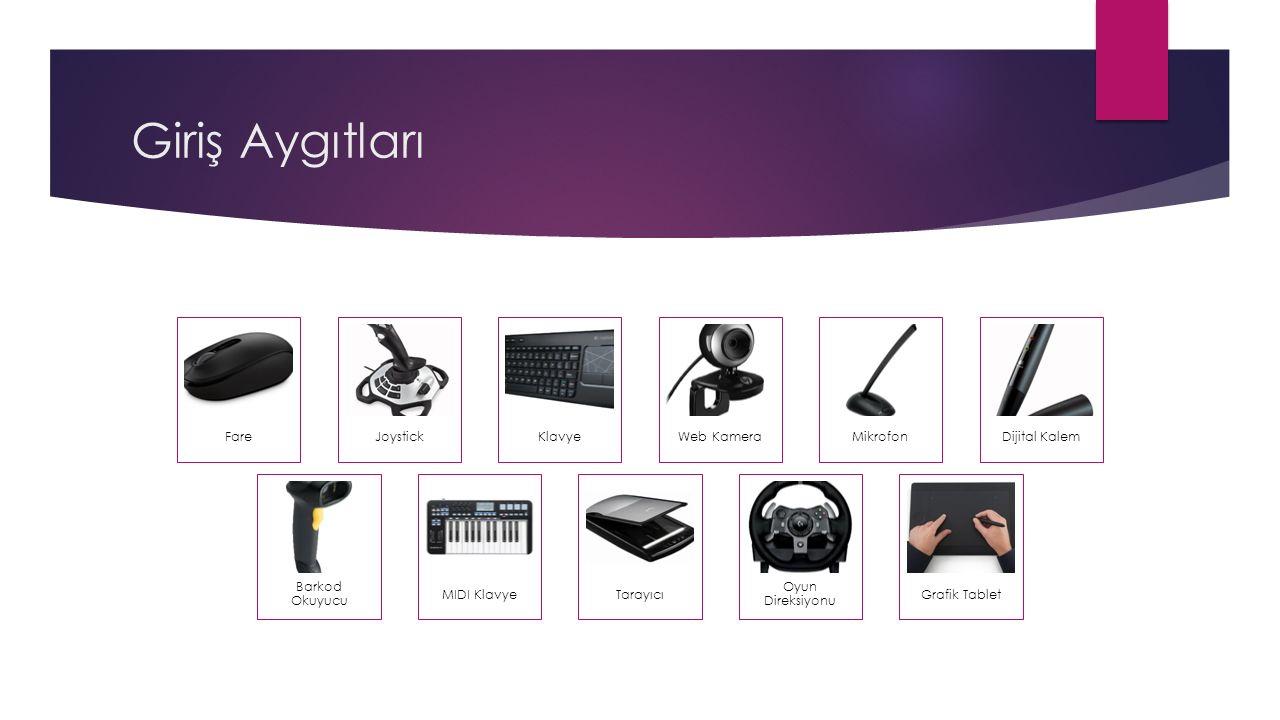 Giriş Aygıtları FareJoystickKlavyeWeb KameraMikrofonDijital Kalem Barkod Okuyucu MIDI KlavyeTarayıcı Oyun Direksiyonu Grafik Tablet