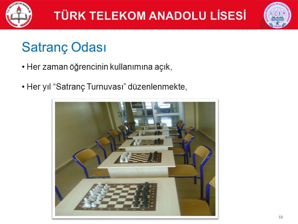 """Her zaman öğrencinin kullanımına açık, Her yıl """"Satranç Turnuvası"""" düzenlenmekte, TÜRK TELEKOM ANADOLU LİSESİ Satranç Odası 12"""