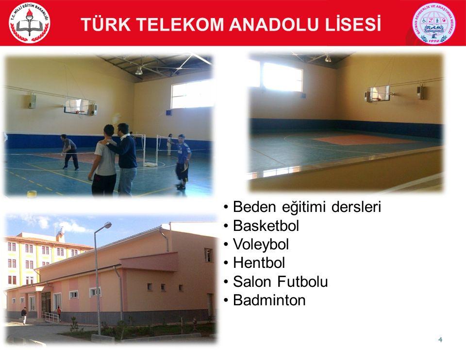 Beden eğitimi dersleri Basketbol Voleybol Hentbol Salon Futbolu Badminton TÜRK TELEKOM ANADOLU LİSESİ Spor Etkinlikleri 4