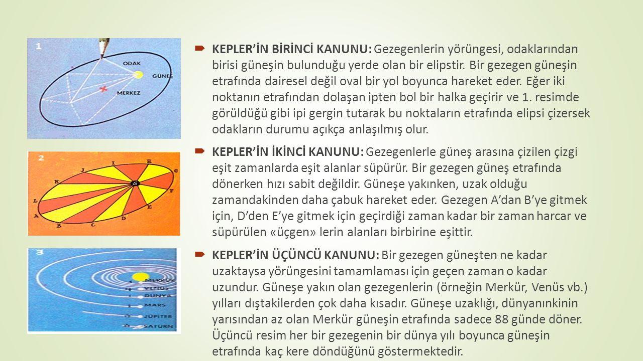  KEPLER'İN BİRİNCİ KANUNU: Gezegenlerin yörüngesi, odaklarından birisi güneşin bulunduğu yerde olan bir elipstir. Bir gezegen güneşin etrafında daire