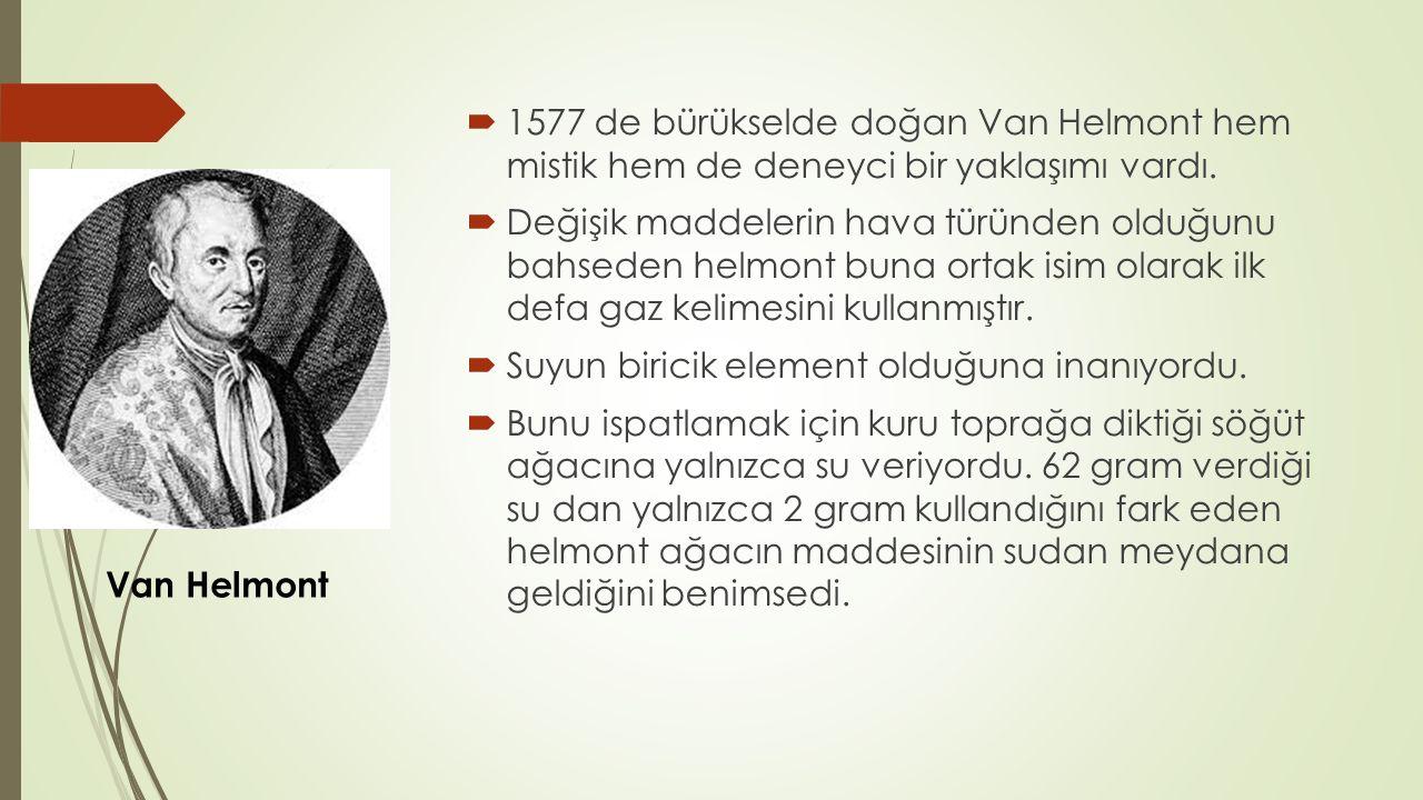  1577 de bürükselde doğan Van Helmont hem mistik hem de deneyci bir yaklaşımı vardı.  Değişik maddelerin hava türünden olduğunu bahseden helmont bun