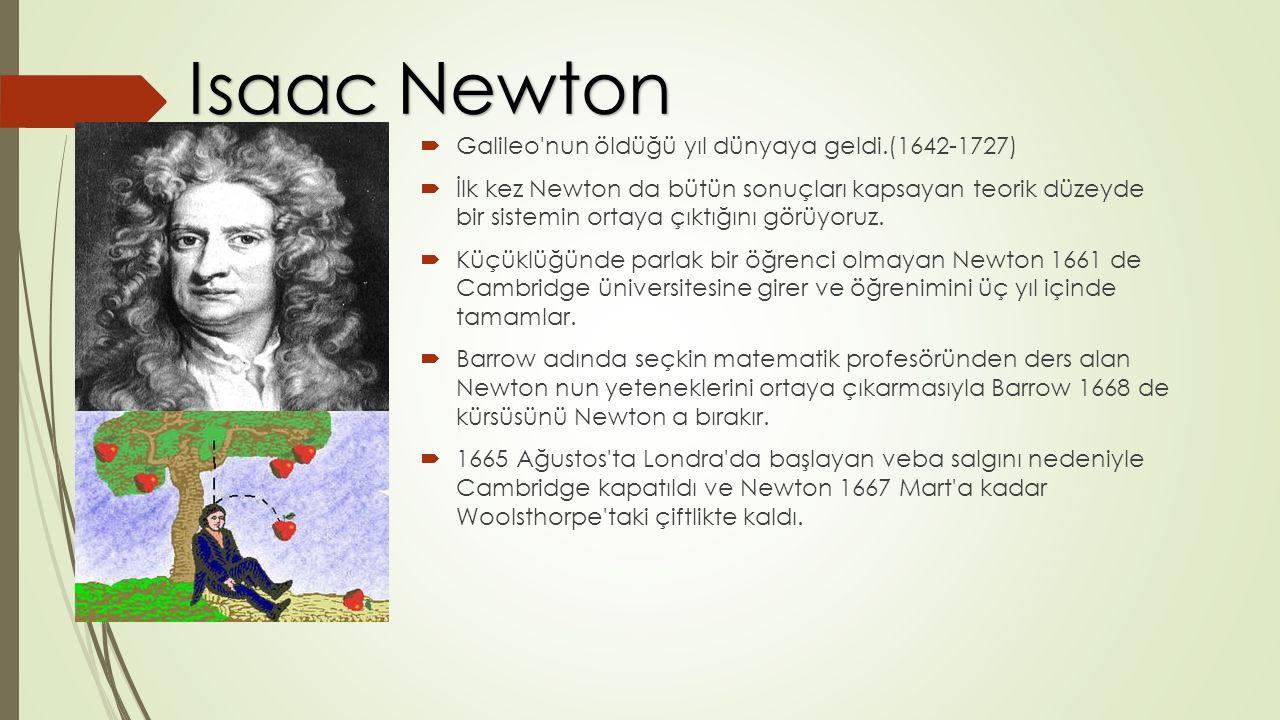  Galileo nun öldüğü yıl dünyaya geldi.(1642-1727)  İlk kez Newton da bütün sonuçları kapsayan teorik düzeyde bir sistemin ortaya çıktığını görüyoruz.