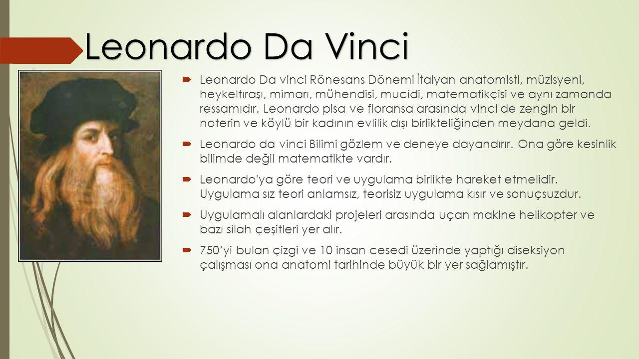  Leonardo Da vinci Rönesans Dönemi İtalyan anatomisti, müzisyeni, heykeltıraşı, mimarı, mühendisi, mucidi, matematikçisi ve aynı zamanda ressamıdır.
