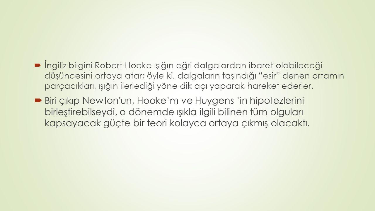  İngiliz bilgini Robert Hooke ışığın eğri dalgalardan ibaret olabileceği düşüncesini ortaya atar; öyle ki, dalgaların taşındığı esir denen ortamın parçacıkları, ışığın ilerlediği yöne dik açı yaparak hareket ederler.