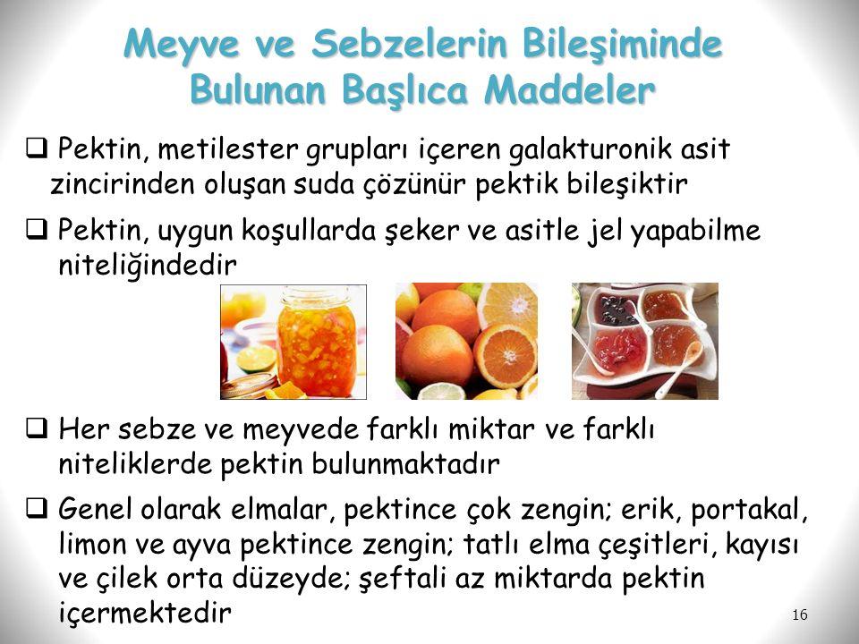 16  Her sebze ve meyvede farklı miktar ve farklı niteliklerde pektin bulunmaktadır  Genel olarak elmalar, pektince çok zengin; erik, portakal, limon