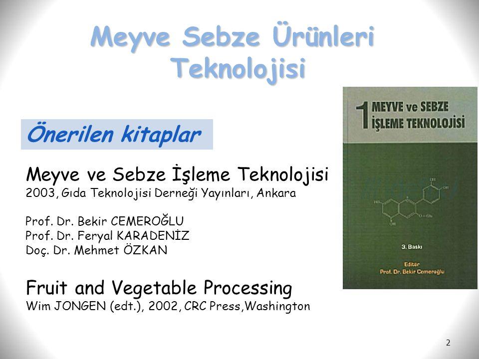 2 Önerilen kitaplar Meyve ve Sebze İşleme Teknolojisi 2003, Gıda Teknolojisi Derneği Yayınları, Ankara Prof. Dr. Bekir CEMEROĞLU Prof. Dr. Feryal KARA