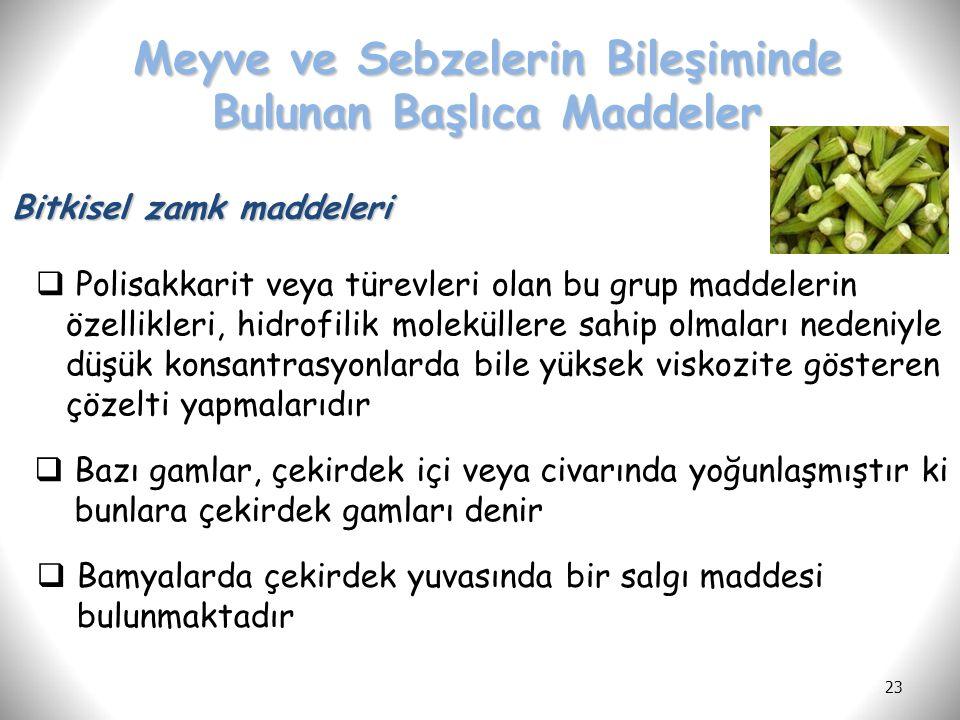 23 Meyve ve Sebzelerin Bileşiminde Bulunan Başlıca Maddeler Bitkisel zamk maddeleri  Polisakkarit veya türevleri olan bu grup maddelerin özellikleri,