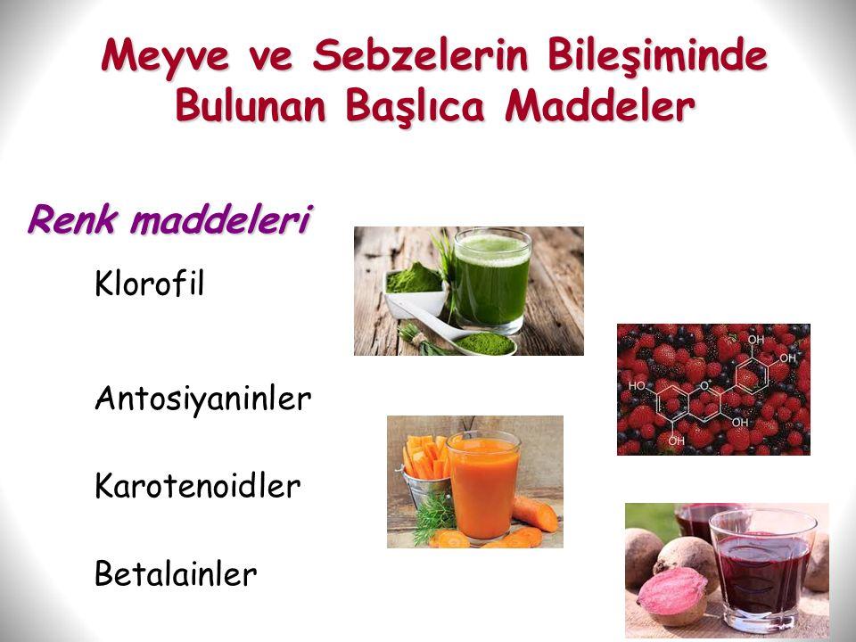 48 Meyve ve Sebzelerin Bileşiminde Bulunan Başlıca Maddeler Renk maddeleri Klorofil Antosiyaninler Karotenoidler Betalainler
