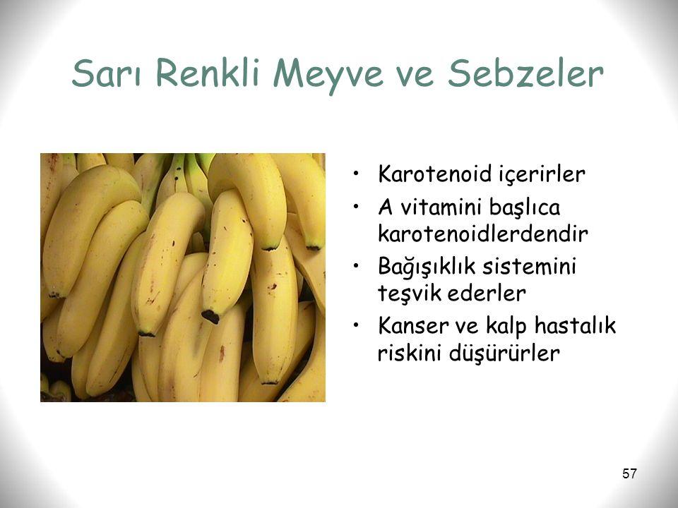 57 Sarı Renkli Meyve ve Sebzeler Karotenoid içerirler A vitamini başlıca karotenoidlerdendir Bağışıklık sistemini teşvik ederler Kanser ve kalp hastal