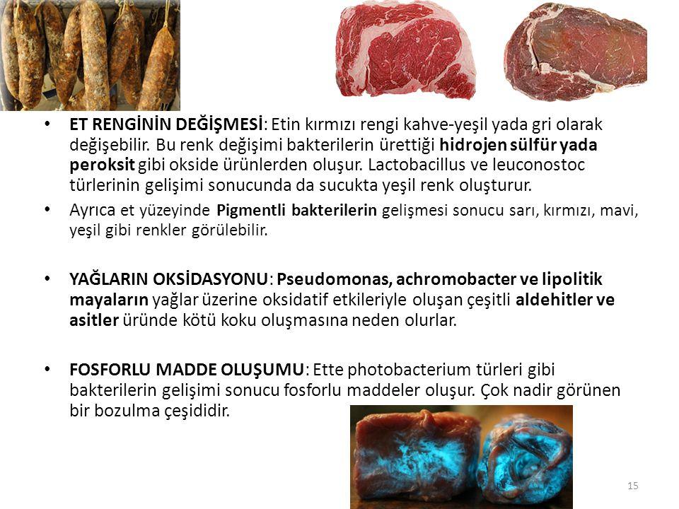 ET RENGİNİN DEĞİŞMESİ: Etin kırmızı rengi kahve-yeşil yada gri olarak değişebilir. Bu renk değişimi bakterilerin ürettiği hidrojen sülfür yada peroksi