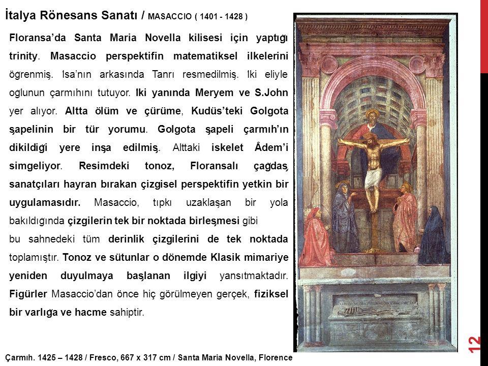 Çarmıh. 1425 – 1428 / Fresco, 667 x 317 cm / Santa Maria Novella, Florence İtalya Rönesans Sanatı / MASACCIO ( 1401 - 1428 ) 12 Floransa'da Santa Mari