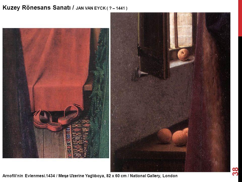 Arnofili'nin Evlenmesi.1434 / Mes ̧ e U ̈ zerine Yag ̆ lıboya, 82 x 60 cm / National Gallery, London Kuzey Rönesans Sanatı / JAN VAN EYCK ( ? – 1441 )