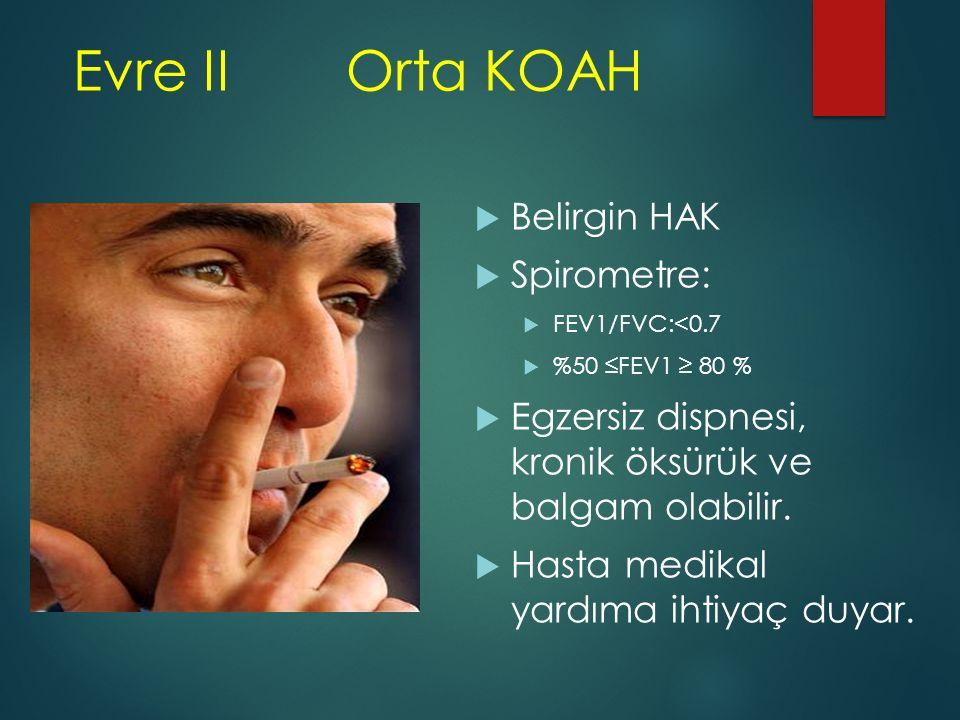 Evre IIOrta KOAH  Belirgin HAK  Spirometre:  FEV1/FVC:<0.7  %50 ≤FEV1 ≥ 80 %  Egzersiz dispnesi, kronik öksürük ve balgam olabilir.  Hasta medik