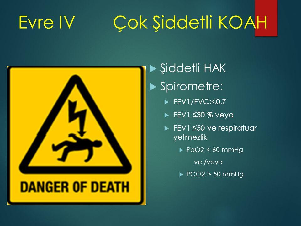 Evre IV Çok Şiddetli KOAH  Şiddetli HAK  Spirometre:  FEV1/FVC:<0.7  FEV1 ≤30 % veya  FEV1 ≤50 ve respiratuar yetmezlik  PaO2 < 60 mmHg ve /veya