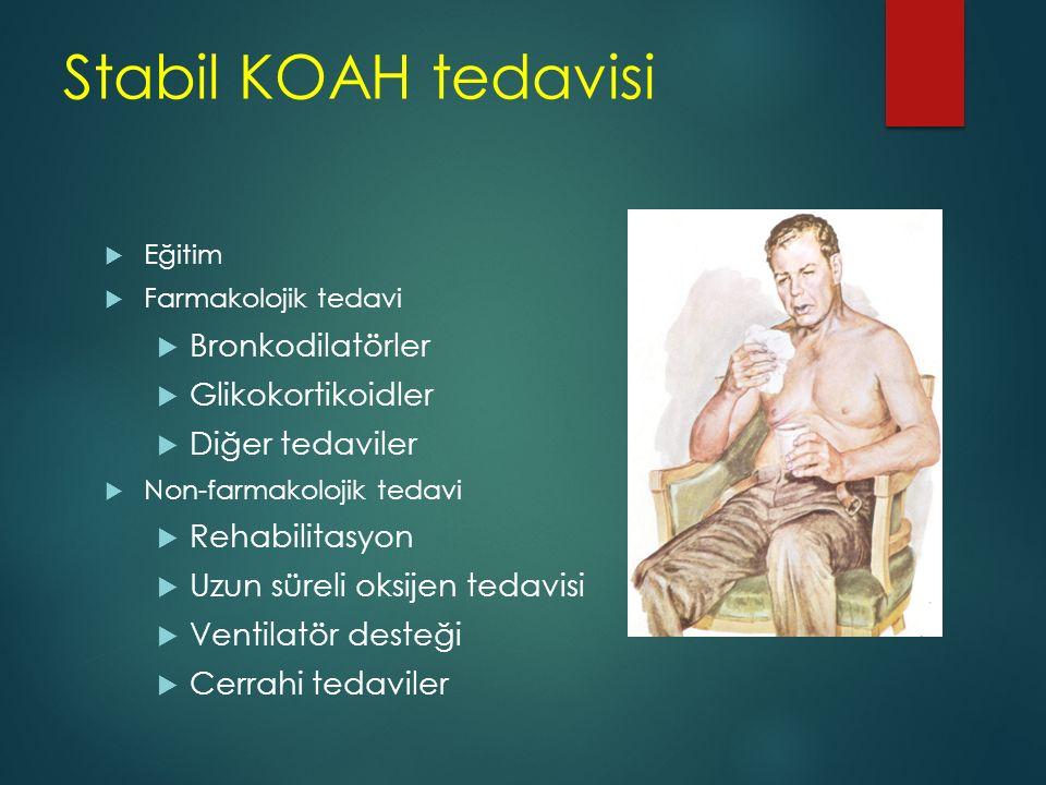 Stabil KOAH tedavisi  Eğitim  Farmakolojik tedavi  Bronkodilatörler  Glikokortikoidler  Diğer tedaviler  Non-farmakolojik tedavi  Rehabilitasyo