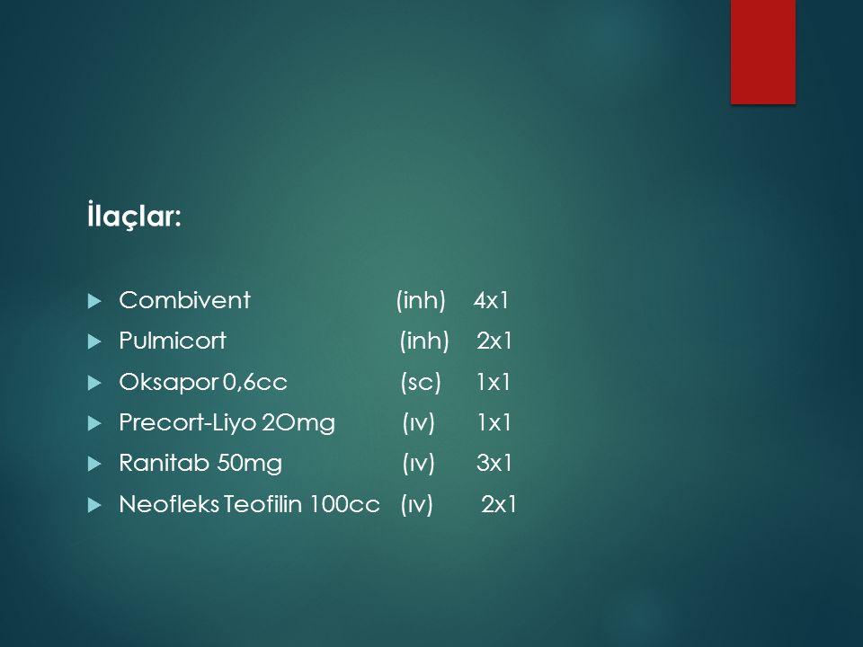 İlaçlar:  Combivent (inh) 4x1  Pulmicort (inh) 2x1  Oksapor 0,6cc (sc) 1x1  Precort-Liyo 2Omg (ıv) 1x1  Ranitab 50mg (ıv) 3x1  Neofleks Teofilin