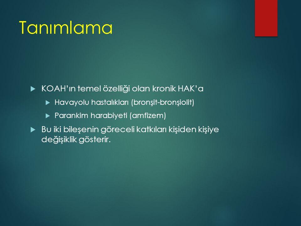 Tanımlama  KOAH'ın temel özelliği olan kronik HAK'a  Havayolu hastalıkları (bronşit-bronşiolit)  Parankim harabiyeti (amfizem)  Bu iki bileşenin g