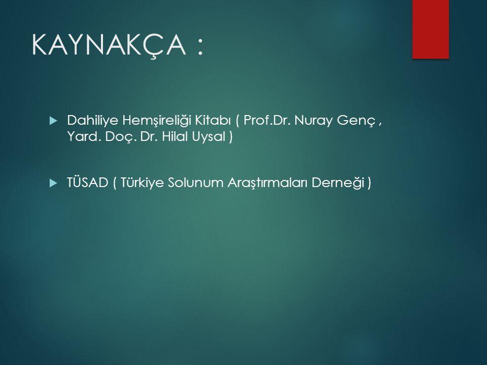 KAYNAKÇA :  Dahiliye Hemşireliği Kitabı ( Prof.Dr. Nuray Genç, Yard. Doç. Dr. Hilal Uysal )  TÜSAD ( Türkiye Solunum Araştırmaları Derneği )