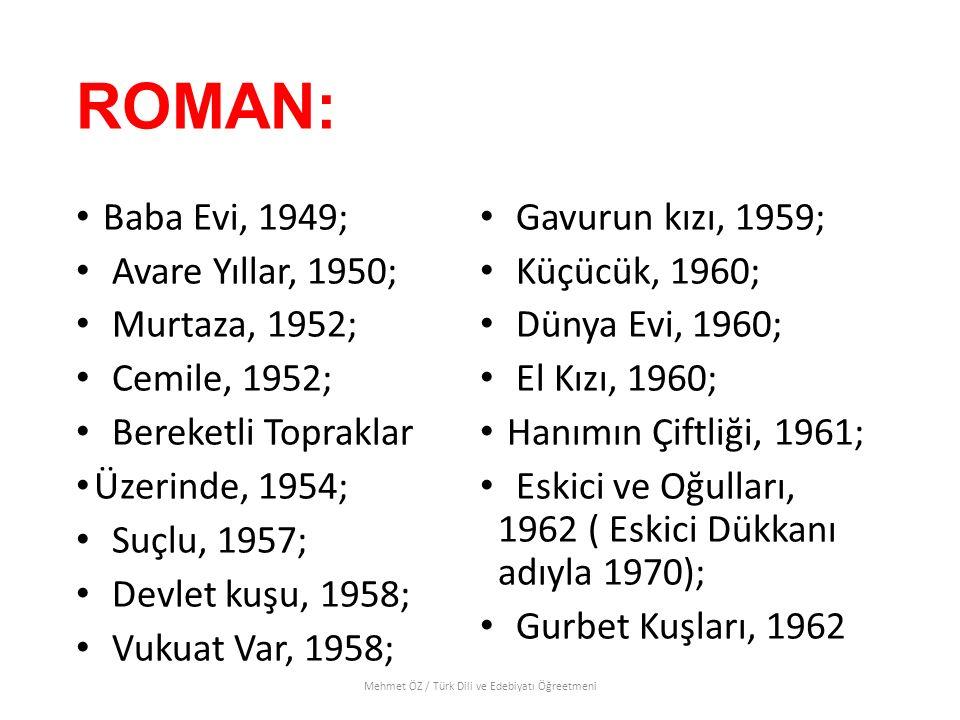 ROMAN: Baba Evi, 1949; Avare Yıllar, 1950; Murtaza, 1952; Cemile, 1952; Bereketli Topraklar Üzerinde, 1954; Suçlu, 1957; Devlet kuşu, 1958; Vukuat Var