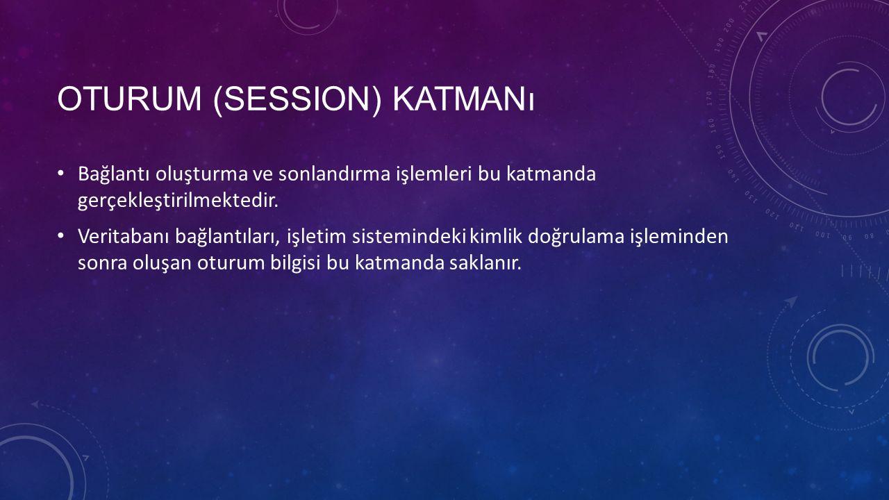 OTURUM (SESSION) KATMANı Bağlantı oluşturma ve sonlandırma işlemleri bu katmanda gerçekleştirilmektedir.