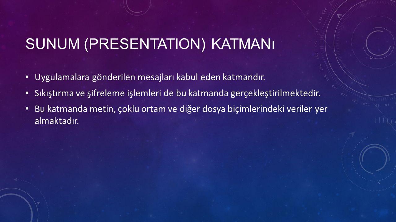 SUNUM (PRESENTATION) KATMANı Uygulamalara gönderilen mesajları kabul eden katmandır.