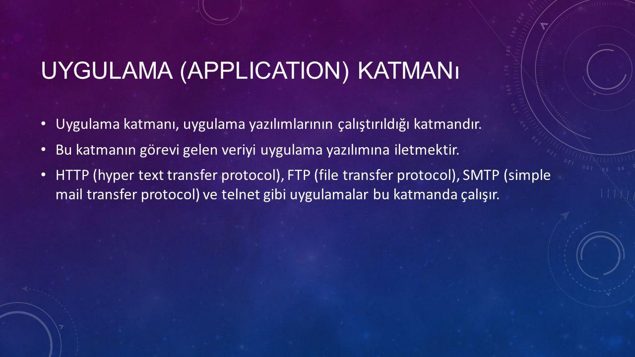 UYGULAMA (APPLICATION) KATMANı Uygulama katmanı, uygulama yazılımlarının çalıştırıldığı katmandır.