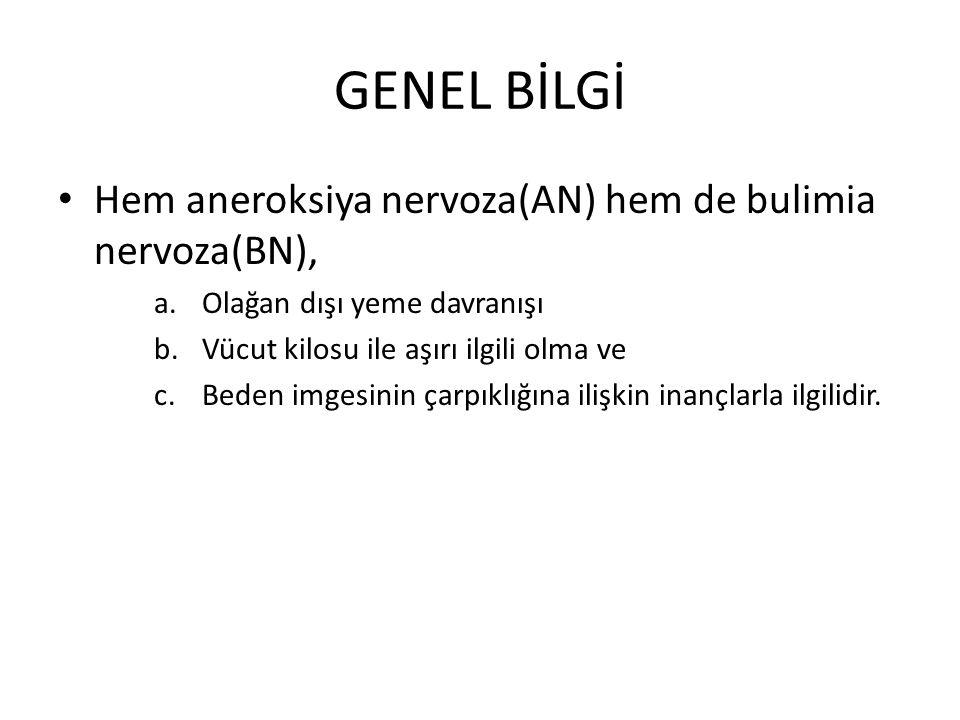 GENEL BİLGİ Hem aneroksiya nervoza(AN) hem de bulimia nervoza(BN), a.Olağan dışı yeme davranışı b.Vücut kilosu ile aşırı ilgili olma ve c.Beden imgesinin çarpıklığına ilişkin inançlarla ilgilidir.