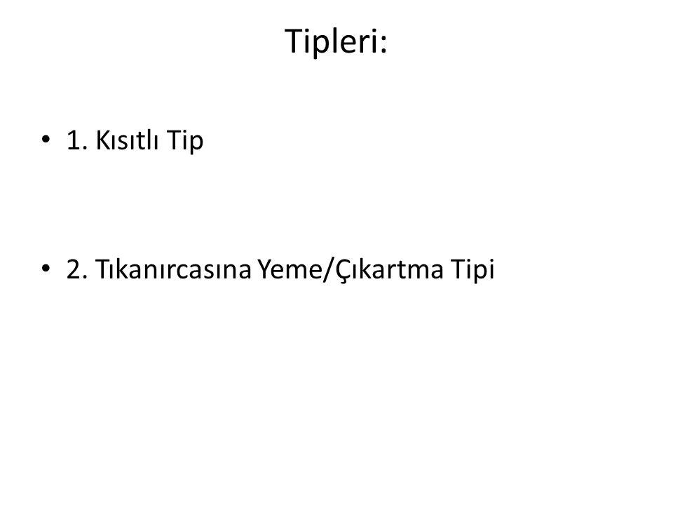 Tipleri: 1. Kısıtlı Tip 2. Tıkanırcasına Yeme/Çıkartma Tipi