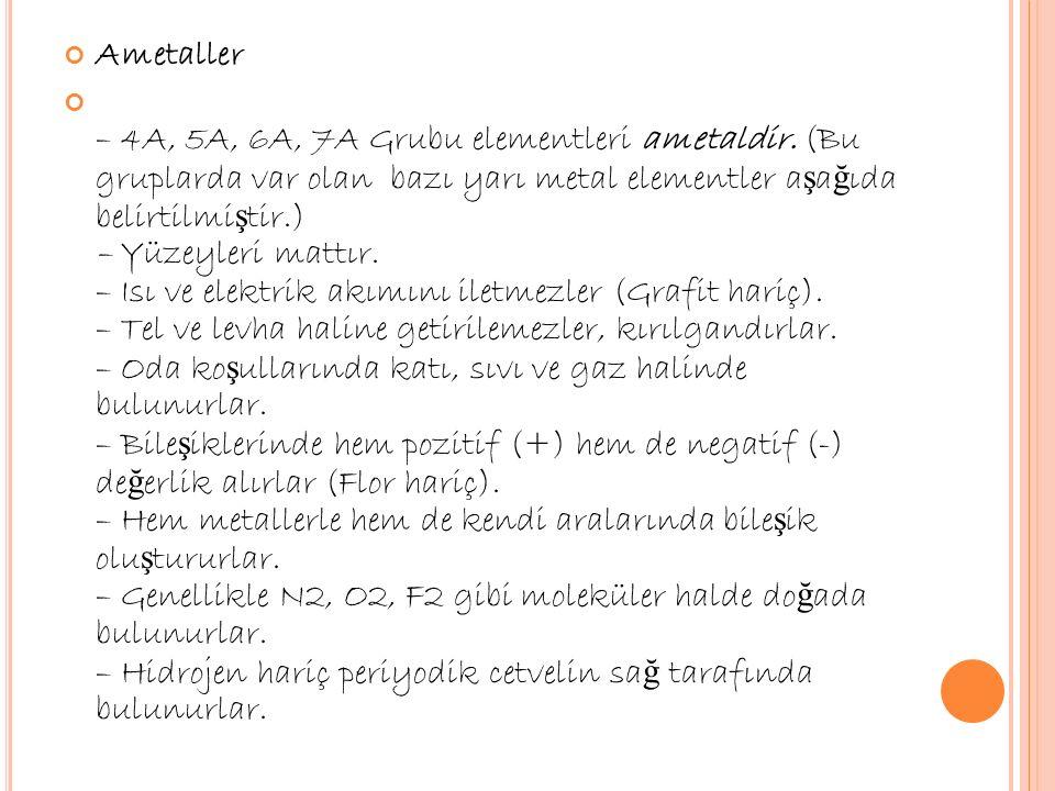 Ametaller – 4A, 5A, 6A, 7A Grubu elementleri ametaldir.