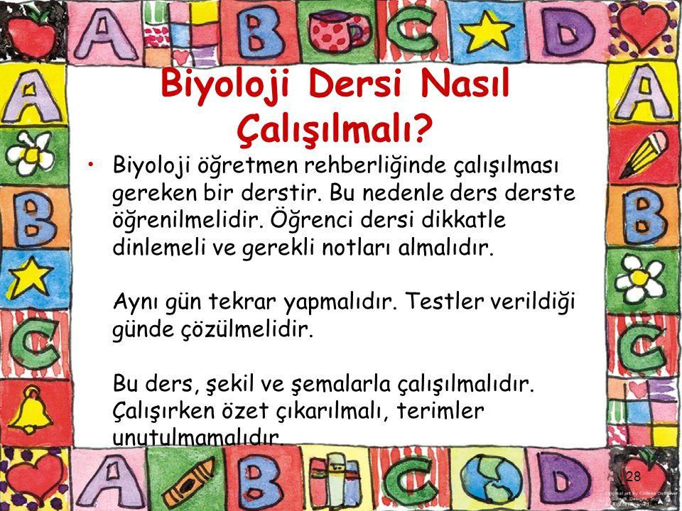 Biyoloji Dersi Nasıl Çalışılmalı. Biyoloji öğretmen rehberliğinde çalışılması gereken bir derstir.